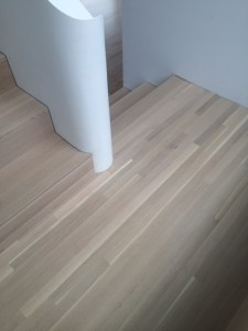 White oak stairs curved